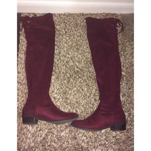 Burgundy and Gold Over-the-Knee Boots